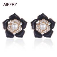 White Pearl Women Earrings Black Flower Stud Earrings ...