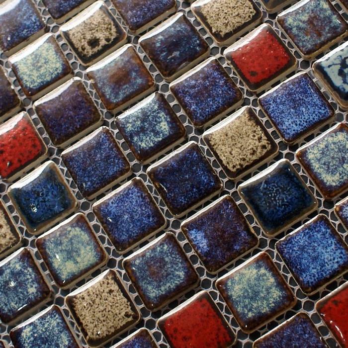 vintage style mixed blue colors ceramic porcelain mosaic tile kitchen vintage kitchen backsplash couchable