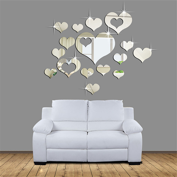 wall sticker diy home decor mirror hearts decoration mirror stickers wall mirror stickers tonka design digsdigs