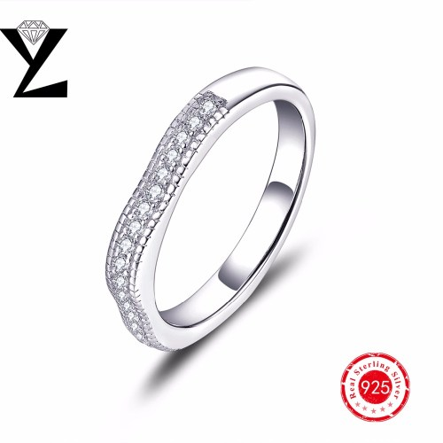 india jewelry pretty wedding bands promotion pretty wedding rings Real Silver Sterling Wedding Band Rings with AAA CZ Stones White Gold Plated for Women Eternity Ring Sterling Silver Jewelry