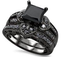 Luxury wedding ring set black zircon engagement ring ...