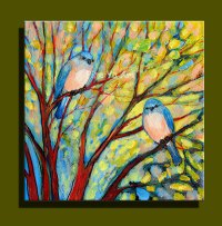abstract modern colorful love tree canvas wall art ...