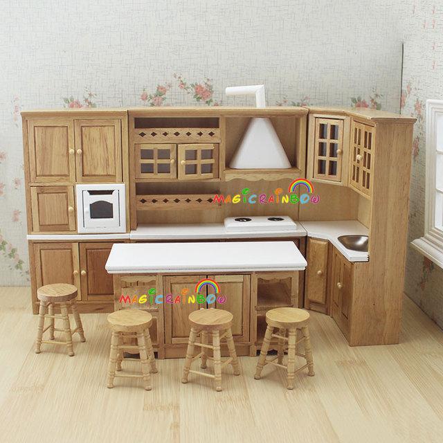 doll house kitchen furniture wooden toys cabi range hood sink chiars dollhouse furniture kitchen set melissa doug