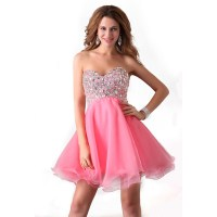 Real Photos Crystal Beaded Pink Black Short Prom Dresses ...