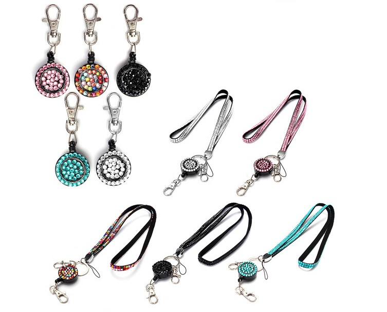 Free Shipping Retractable Bling Rhinestone Neck Lanyard