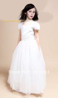 New Flower Girl Cap Sleeved Beaded White Dress First Holy
