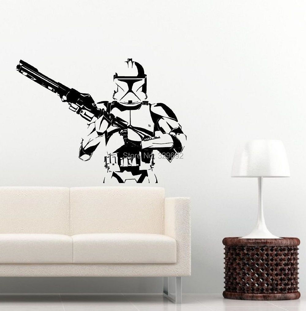 star wars storm trooper wall vinyl art decal iconic kid room sticker black star wars long time wall sticker boy bed