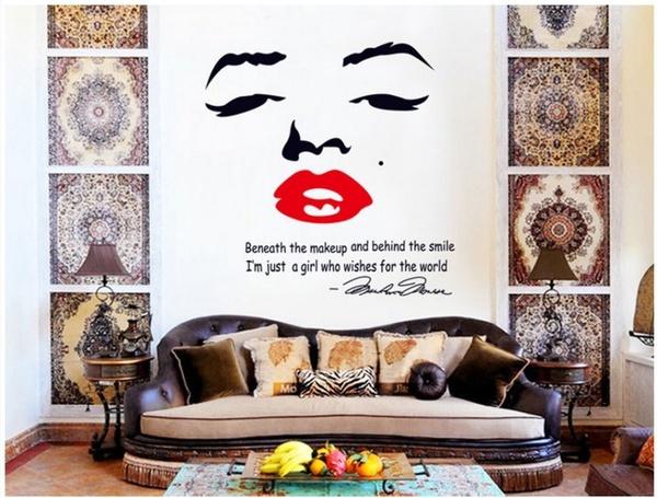 marilyn monroe wall stickers home decor creative personality fashion marilyn monroe wall sticker bright blue pig