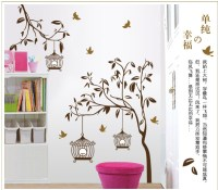 Beautiful Removable Wall Stickers Tree and Birdcages Home ...
