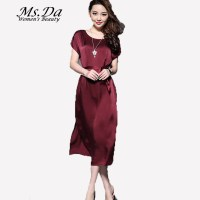 Long Dress Women 2016 New Summer Short Sleeve Faux Silk ...