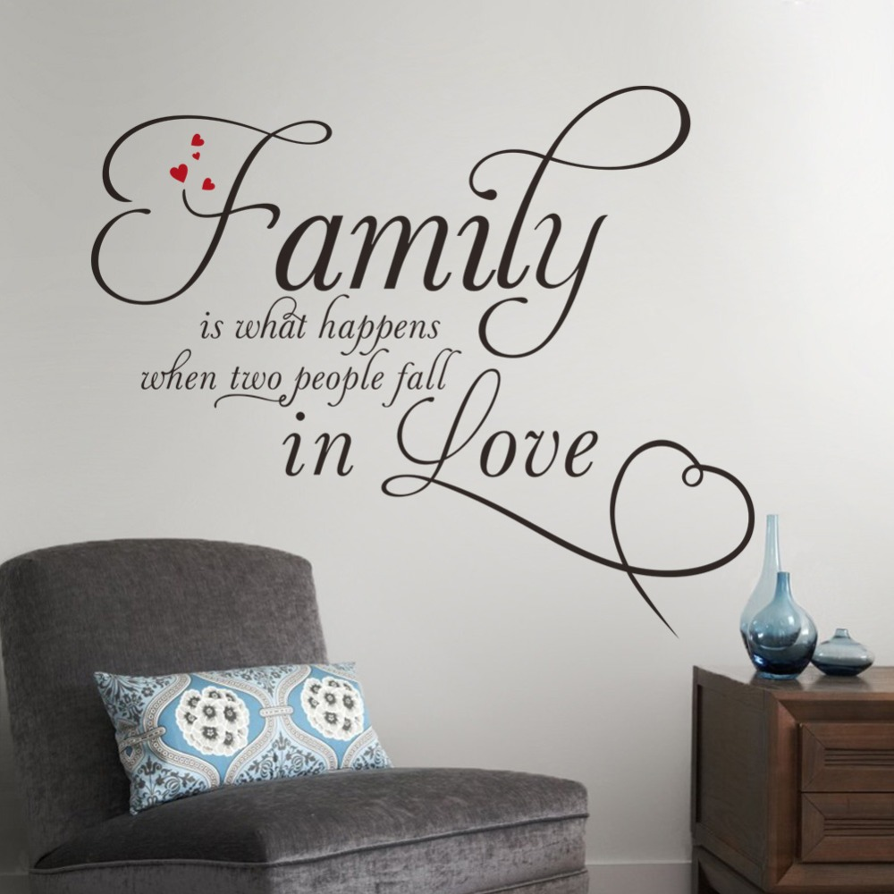 family wall decal stickers love quotes heart wall decoration home home sweet home wall sticker decals