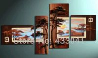 Hand Painted 4 Piece Sets Modern Abstract Brown Pine Tree ...