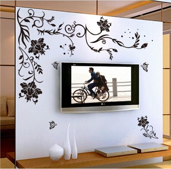 aliexpress buy black flower vine butterfly vinyl wall stickers black butterfly wall decals beautiful vinyl butterfly wall allpiques