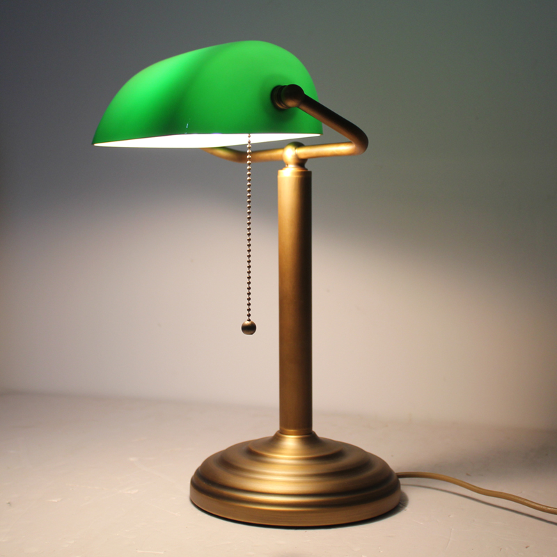 Full Copper brass Bankers table lamp desk light vintage