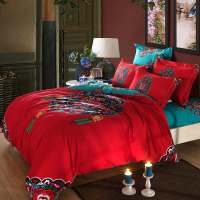red-turquoise-oriental-Chinese-Traditional-pattern-bedding ...