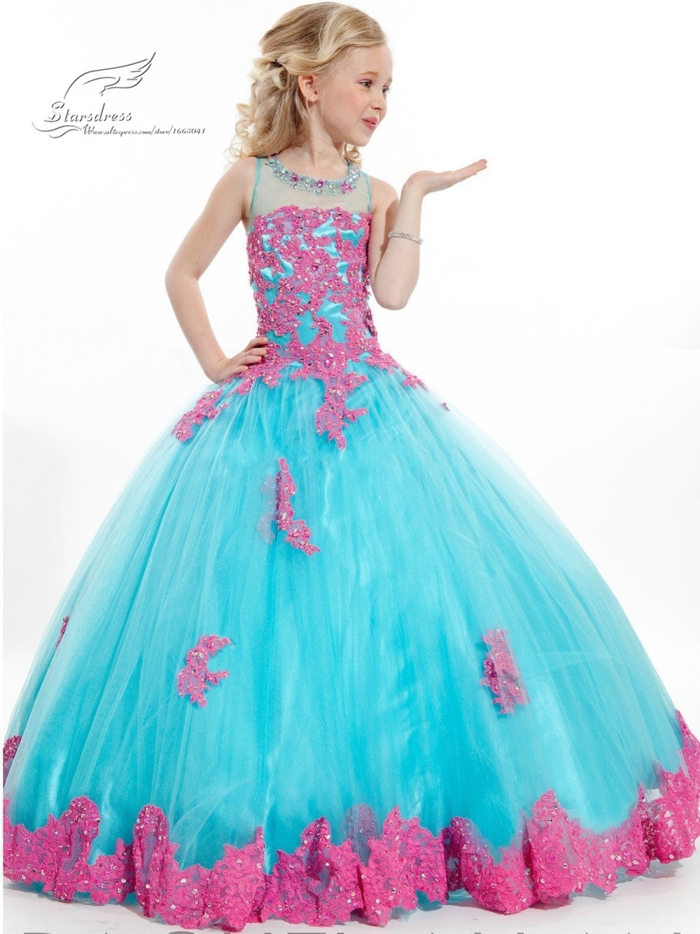 Tosca Warna Apa 2015 New Arrival Little Girl Ball Gown Scoop Appliqued
