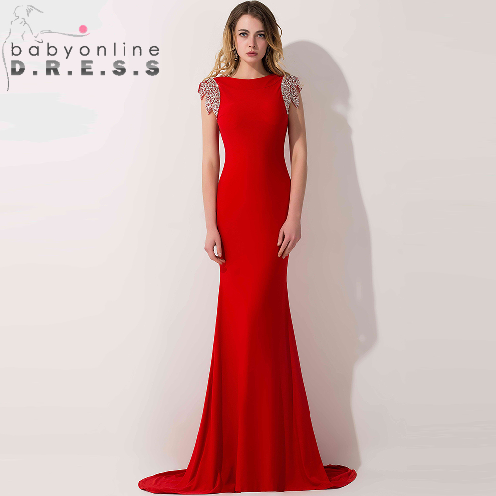 Red Long Sleeve Formal Gown