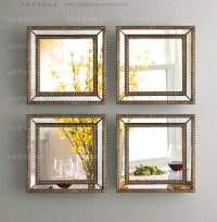 Mirrored wall decor fretwork square wall mirror framed ...