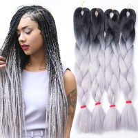 5pcs Ombre Kanekalon Braiding Hair Grey/Gray Kanekalon