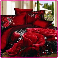 Reactive Printed 3D Bed Set 3D Bedding Set Linen Cotton