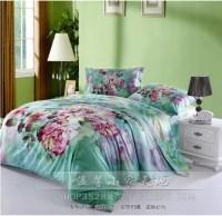 Vintage mint green floral flower duvets cover bedspread ...