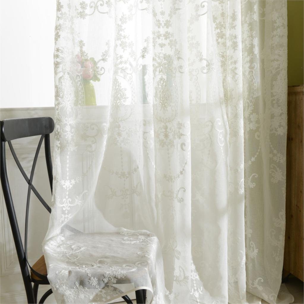 White Sheer Door Panel Curtains Tulle Curtains Luxury Embroidered White Sheer Curtain