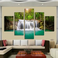 Unframed 5 panel The Moving Waterfall Large HD Home ...