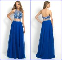 New Elegant Beaded Top Royal Blue Two Piece Long Prom ...