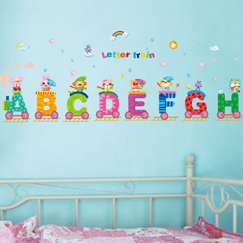 removable english letters train wall stickers creative alphabet wall animal alphabet wall stickers abc wall stickers nursery decals