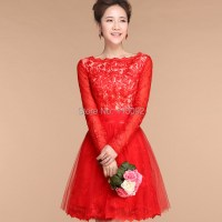 Long Sleeve Short Red Bridesmaid Dresses_Bridesmaid ...