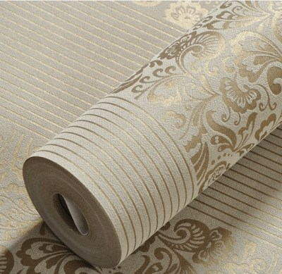 European Striped Floral Wallpaper 3D Embossed Non woven Wallpaper Roll Mural Wallpaper Bedroom ...