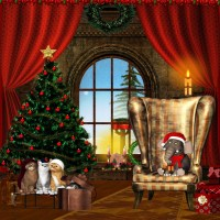 10x10FT-Indoor-Living-Room-Christmas-Tree-Red-Curtain ...
