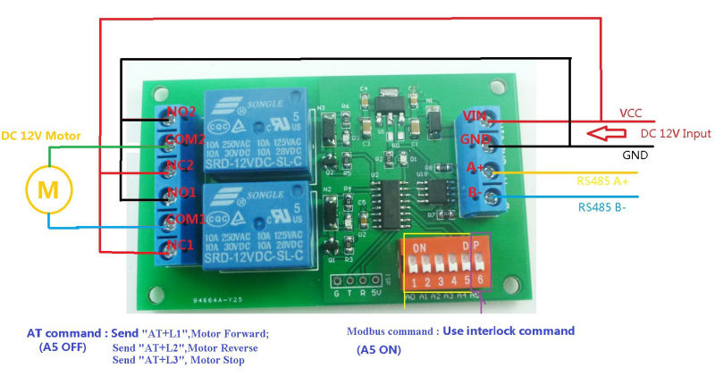 2019 DC 12V 2 Ch RS485 Relay Board UART Serial Port Switch Module