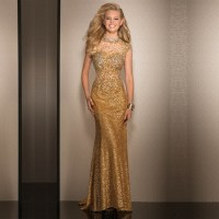 Popular Long Gold Sequin Dress