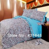 Blue leopard print ruffle bedding set princess bed set ...