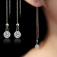 Long Diamond Earrings Women With Fantastic Minimalist In ...