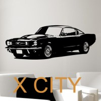 Retro Old School 1965 Ford Mustang Muscle Car BEDROOM WALL ...