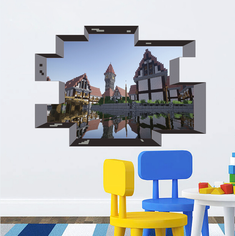 newest minecraft wall stickers wallpaper kids room decal minecraft wallpaper wall stickers colour options interiorinstyle wall