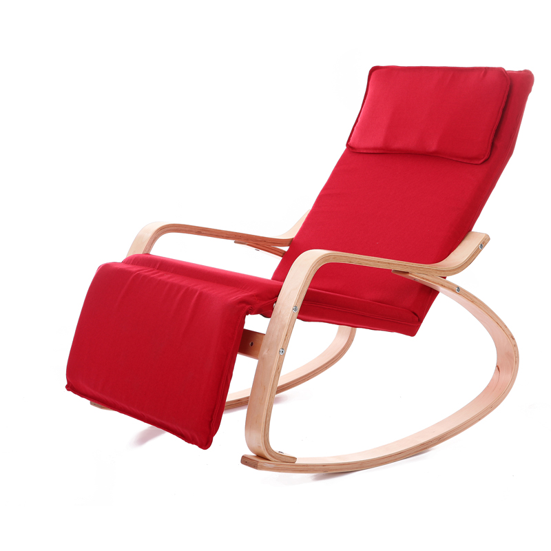 Comfortable relax wood rocking chair with foot rest design