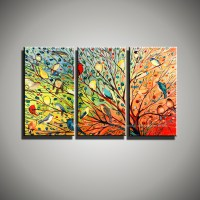 Buy Abstract modern 3 panel canvas wall art birds funny ...