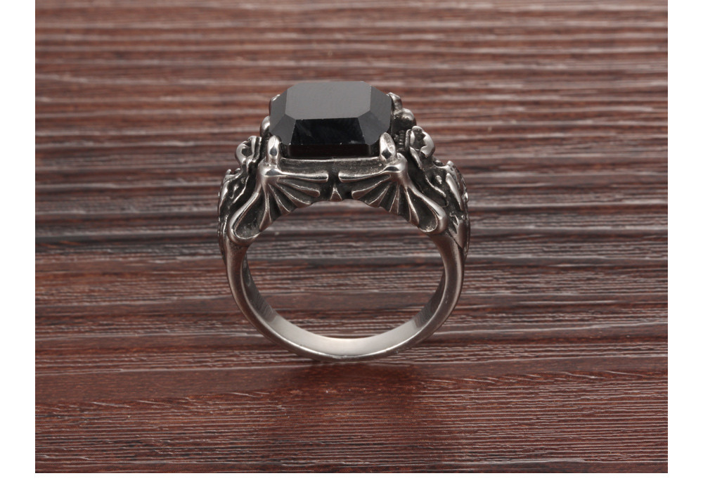 Aaa Black Cubic Zirconia Man Ring Fashion Stainless Steel