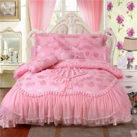 100% Satin Jacquard bedding sets Rose Silk Embroidery ...