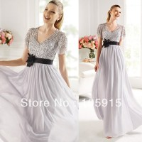 Modest Silver V neck Floor length Peplum Sequined ...