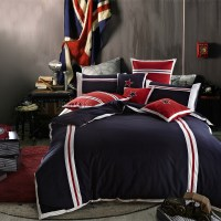 Boys Plain Sports Blue Red Bedding Sets Stripes Stars ...