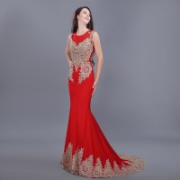 NEW Elegant Red Appliques Lace Chiffon Formal Evening ...