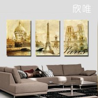 Free shipping canvas painting 3panels wall art World ...