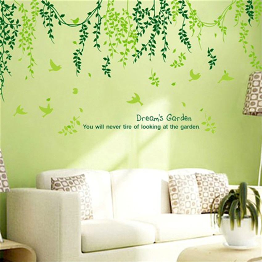 leaves curtain wall stickers home decor living room wall decoration wall sticker decor beautiful wall sticker decoration