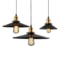 Loft Vintage Iron Black Lampshade Pendant Light Industrial ...