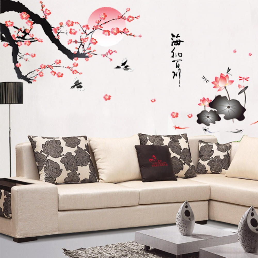 flower wall sticker pink wall decor chinese style mural home decor dandelion blossom wall decals stickers appliques home decor