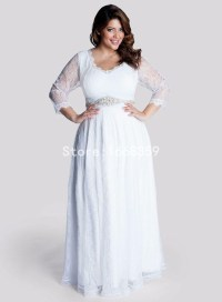 2015 Plus Size Bridesmaid Dresses With 3/4 Sleeves V Neck ...